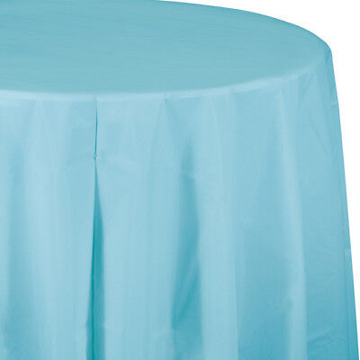 Pastel Blue Plastic Round Tablecloth 82