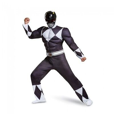 Disguise Black Power Ranger Classic Muscle Adult Mens Halloween Costume 79733 (Classic Power Ranger Costumes)