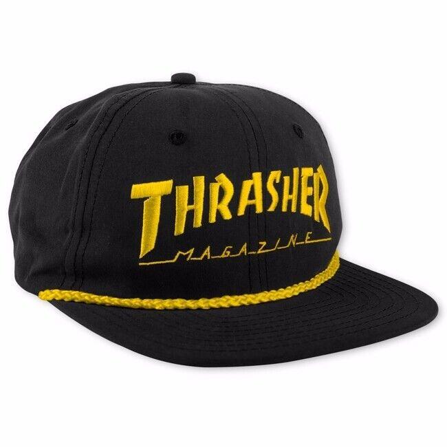 Thrasher Magazine SKATE MAG ROPE Snapback Skateboard Hat BLACK/YELLOW