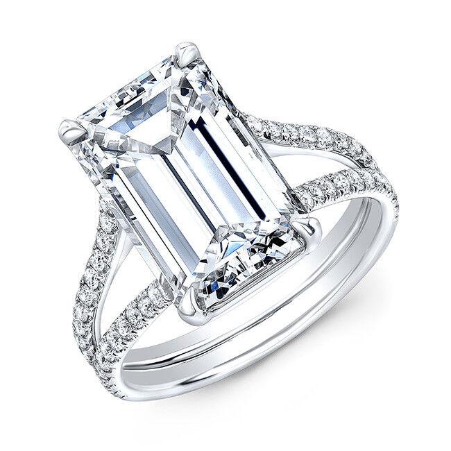 Fine 3.50 Ct Emerald Cut Diamond Split Shank Engagement Ring J,VS1 GIA 14K WG