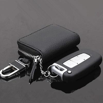 Men Women Leather Car Key Holder KeyChain Wallet Case Pouch Purse Key Bag Black