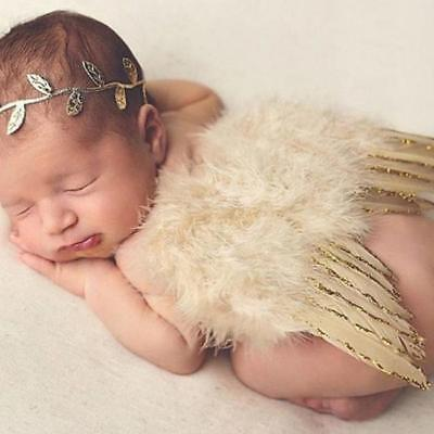 Baby Angel Gold Wings Feather with Headband Bow For Photo Costume Props Q - Gold Wings Costume
