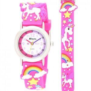 Ravel Unicorn Design Time Teacher White Dial Kids Girl's Pink Watch R1513.79