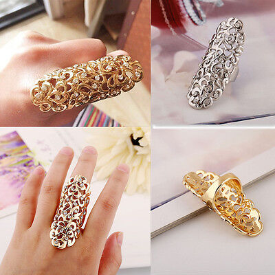 (New Fashion Hollow Out Flower Rhinestone Full Finger Armor Joint Knuckle Ring)