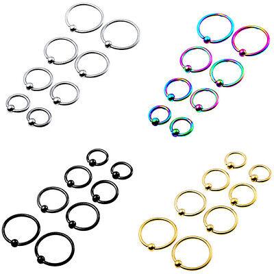 Black Eyebrow Ring - Mix 4Sizes Captive Bead Hoop Earring Ear Cartilage Eyebrow Tragus Ring Piercing