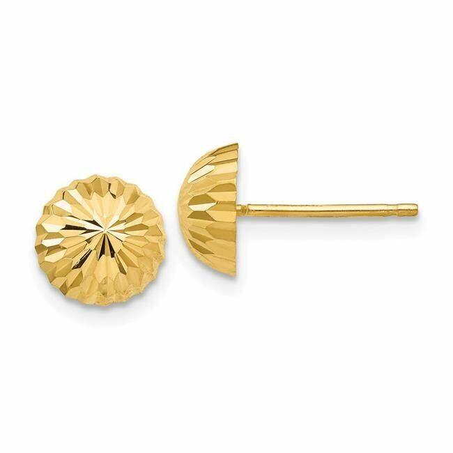 Quality Gold YE1696 8 mm 14K Yellow Gold Diamond-Cut Domed Post Earrings Pair