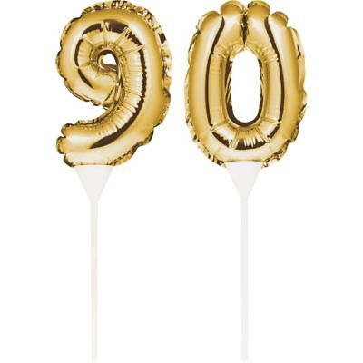 Gold 90th Birthday Balloon Cake Topper 9 0 Gold Number Balloon Party Decoration](90th Birthday Balloons)