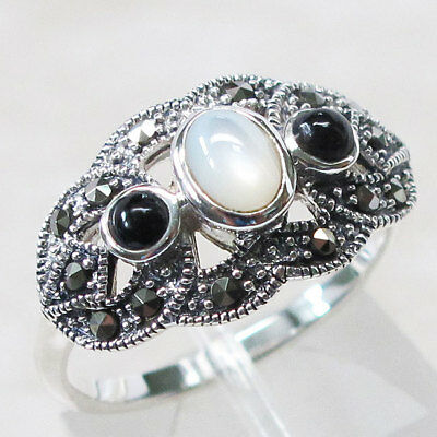 Pearl Black Onyx - LOVELY MARCASITE WHITE PEARL & BLACK ONYX 925 STERLING SILVER RING SIZE 5-10
