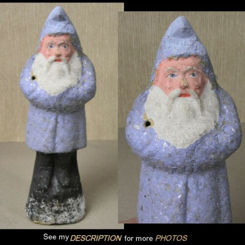 """Antique 1890-1910 German 8-1/4"""" Belsnickle Santa Claus Blue with Mica Robe"""
