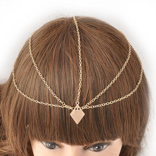 Womens Fashion Metal Rhinestone Head Chain Jewelry
