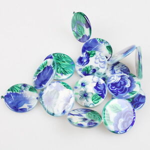 1x-Strings-Royalblue-Flower-Charms-Jewelery-Making-Shell-Loose-Beads-25mm-111505