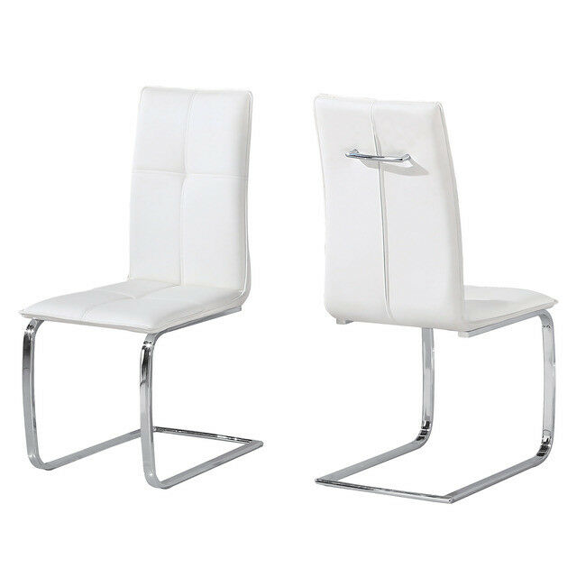 SLEEK MODERN WHITE FAUX LEATHER PAIR 2 DINING CHAIRS WITH POLISHED CHROME LEGS