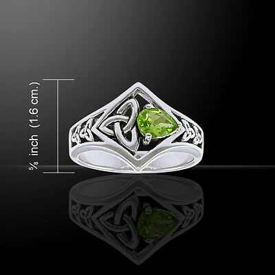 (Celtic Knot Triquetra Trinity Genuine Peridot Sterling Silver Ring Peter Stone)
