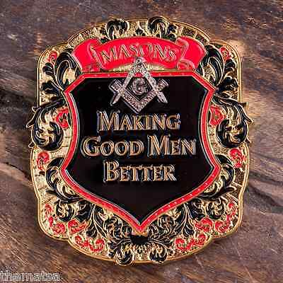 "FREEMASON MASONIC MASON MAKING GOOD MEN BETTER 1.75"" SHIELD CHALLENGE COIN"