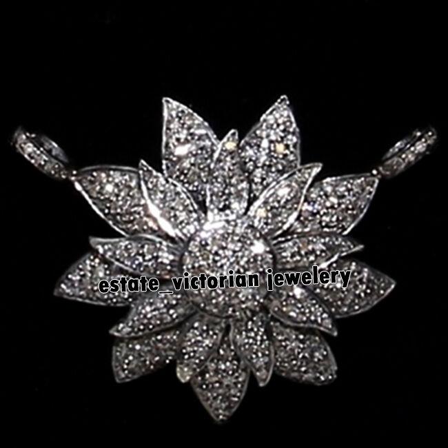 Artdeco Estate 3.79cts Genuine Old Mine Rose Cut Diamond Silver Pendant Jewelry