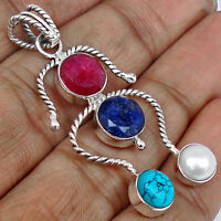 4 STONE - RUBY, SAPPHIRE,  TURQUOISE,  & PEARL & Solid 925 CHAIN