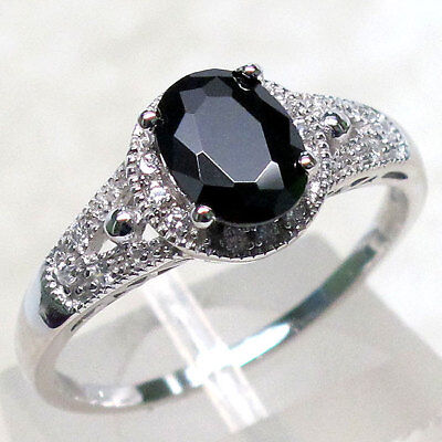 - LOVELY 1 CT BLACK ONYX 925 STERLING SILVER RING SIZE 5-10