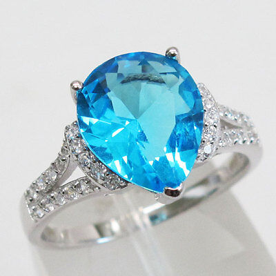 Blue Topaz Pear Ring - BRILLIANT 3 CT PEAR CUT BLUE TOPAZ  925 STERLING SILVER RING SIZE 5-10