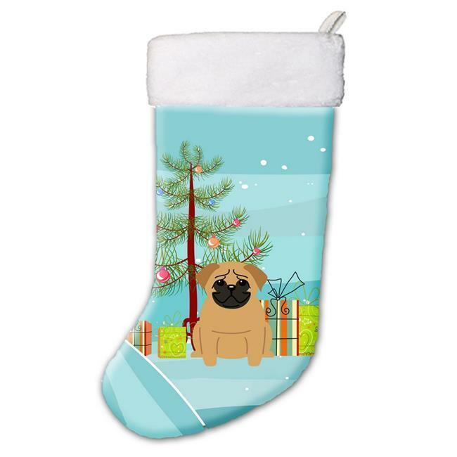 Carolines Treasures BB4132CS Merry Christmas Tree Pug Brown Christmas Stocking
