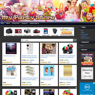 Party Supply Store - Online Affiliate Business Website For Sale Free Domain Name