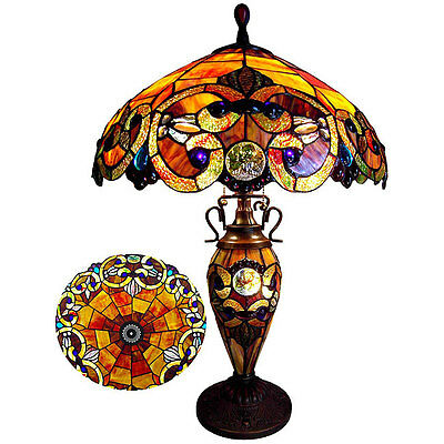 Table Lamp Tiffany Style Jeweled Red Stained Glass Shade Antique Bronze 2 Lights Antique Bronze Hardback Shades