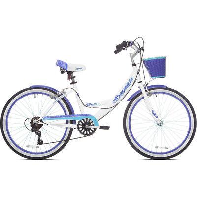 "Womens Beach Cruiser Bike 24"" Girls Bicycle 7-Speed Classic Basket Purple Kent"