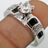 WHITE TOPAZ WITH BLACK SAPPHIRE BAGUETTE ACCENTS 925 Ring Sz 8