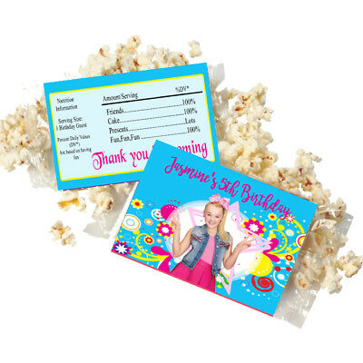 Popcorn Wrappers (20 Personalized JoJo SIWA Microwave Popcorn Wrappers Party Favors Standard Size )