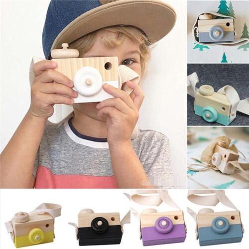 Wooden Camera Kids Toy Baby Gift Children Wood Neck Decor Ro