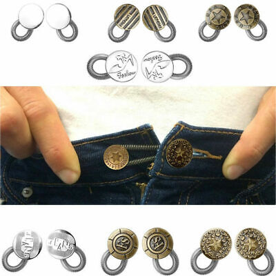 2/6x Jeans Pants Button Instant Fix Metal Waist Stretch Extenders Sewing Tool