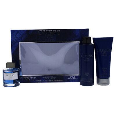 """""""Guess 1981 Indigo for Men - 3 Pc Gift Set 3.4oz EDT Spray, 6oz Body Spray & Mor"""