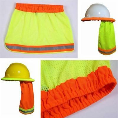 Sun Shade Safety Hard Hat Neck Shield Helmets Hi Vis Reflective Stripe Ld