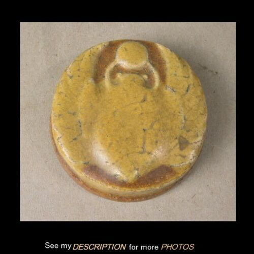 Scarce Grueby Art Pottery Arts & Crafts Scarab Paperweight Mustard Yellow