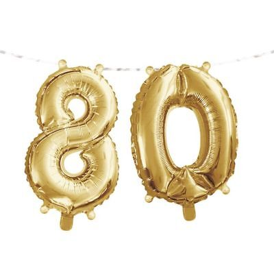 80th Birthday Balloons (Gold 80th Birthday Balloon Banner 80 Number Balloons Party)