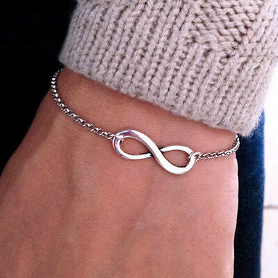 Fashion Jewelry Silver Infinity Bracelet Chain Charm Simple Inspired Women gift
