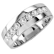 Mens 10K White Gold Diamond Ring