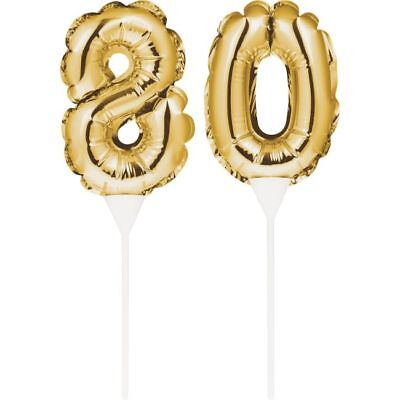 80th Birthday Balloons (Gold 80th Birthday Balloon Cake Topper 80 Number Balloons Party)