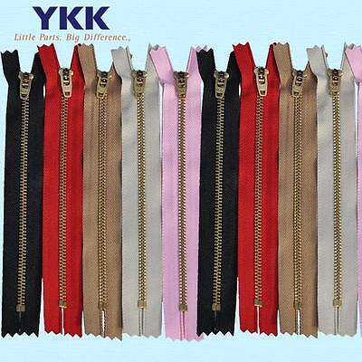 YKK #4.5 Brass Closed Zipper YRGC - For Pants & Jeans  – MANY Colors / Lengths (Brass Jean Zipper)
