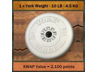 1 x York Weightlifting Barbell Weight - 10 LBS - 4.5 KG - £3