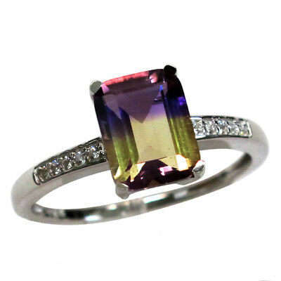 CLASSY 1.5 CT AMETRINE 925 STERLING SILVER RING SIZE 5-10