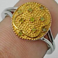 YELLOW DIAMONDs SET IN 925 STERLING SILVER HALLMARKED RING Sz 8