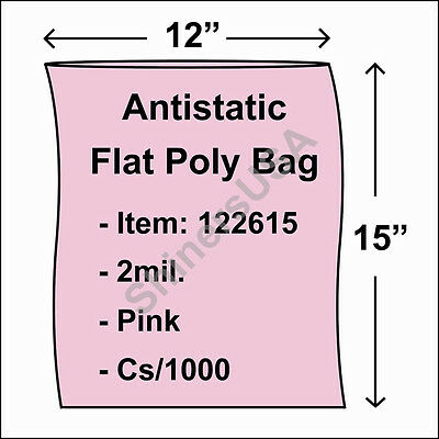 2 mil Pink Antistatic Flat Poly Bag 12x15 Open Top Lay Flat  cs/1000 (122615)