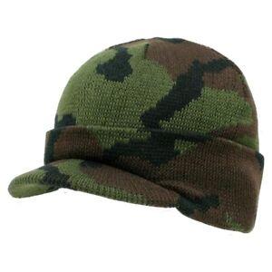 Green Camo Visor Beanie Jeep Gi Knit Camouflage Military Watch Cap Caps Hat Hats