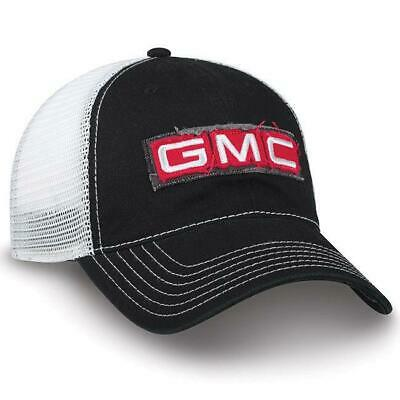 Twill and Mesh GMC Cap White Black Red Truck Logo Weathered New Hat
