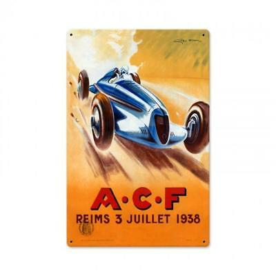 ACF Reims Hot Rod Classic Design Vintage Auto Car Wall Decor Metal Sign JG010