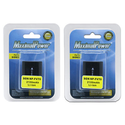 TWO BATTERIES for SONY NP-FV70 NP-FV30 FV50 NP-FH30 FH70 NP-FH100 BATTERY X 2