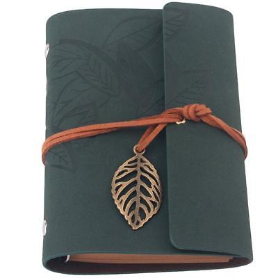 Vintage String Leaf Blank Notebook PU Leather Diary Journal Sketchbook YI