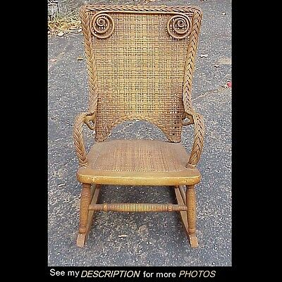 Childs Wicker Rocker - Antique Child's Wicker Rocker Heywood Bros Gardner Mass MINT