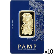 10 x 1 oz Gold Bar PAMP - Lady Fortuna Design & VeriScan - PAMP Suisse