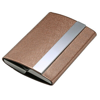Two Side Open Pu Leather Stainless Steel Name Business Card Case Holder Coffee